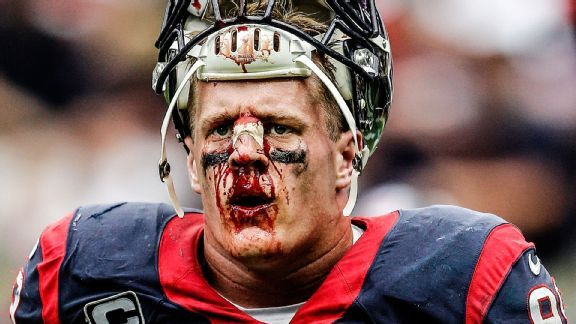 JJ Watt full of blood