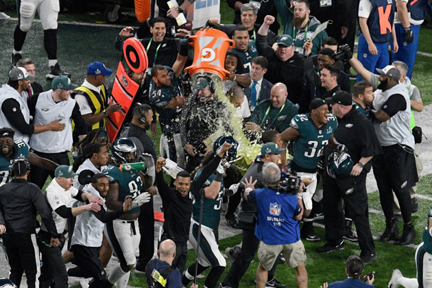 Pederson gets Gatorade shower