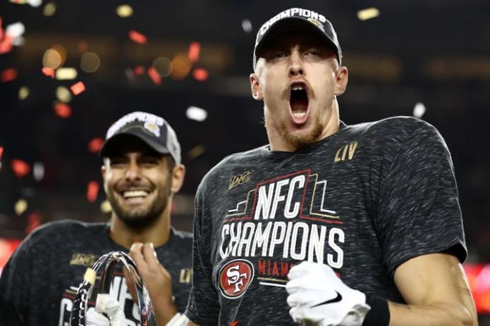 49ers celebrating NFC Championship 2